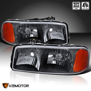 For 1999 2006 Gmc Sierra Yukon Denali Xl Black Headlights Lamps Left Right Pair