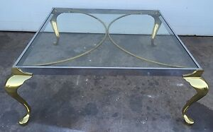 Pace Collection Chrome Brass And Glass Coffee Table Vintage