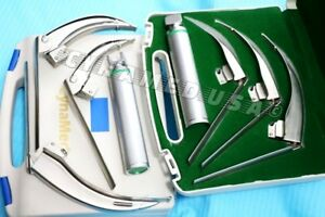 German mccoy Flexi tip Fiberoptic Led Laryngoscope Set Mac 1 2 3 handle