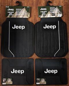 Jeep Elite Front And Rear Logo Car Truck Rubber Floor Mats Set New