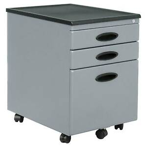 Mobile File Cabinet W locking Drawers Silver