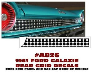 A826 1961 Ford Galaxie Rear Grid Panel Decal Kit
