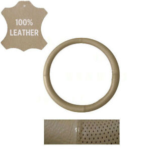 New Perforated Genuine Beige Leather Car Truck Steering Wheel Cover Medium Size