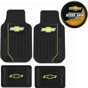 New Chevrolet Gold Bowtie Logo Front Back Rubber Floor Mats Steering Wheel Cover
