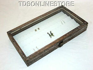Rustic Coffee Brown Glass Top Jewelry Case With 90 Earring White Insert