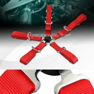 Universal Jdm 2 Red Durable Nylon 5 Point Cam Lock Safety Harness Seat Belt