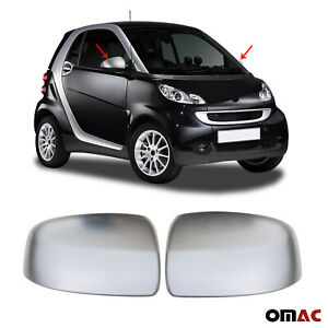 Fits Smart Fortwo 2008 2015 Stainless Brushed Chrome Side Mirror Cover Cap Set