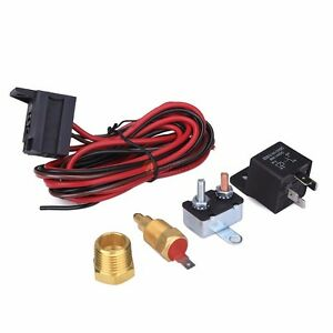 12v 175 185 Degree Electric Cooling Fan Temperature Thermostat Switch Relay Kit