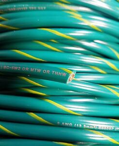 Mtw 6 Awg Gauge Green yellow Stripe Stranded Copper Sgt Primary Wire 50 Ft