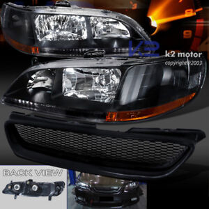 For 98 02 Honda Accord 2dr Jdm Black Headlights Front T R Hood Grill Abs Grille