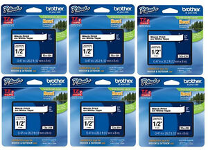 6 pack Brother Tze 231 Black On White P touch Tape Bulk Tze231 Tz231 Tz 231