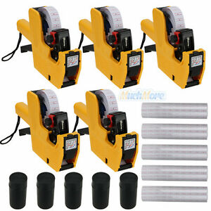 5x Mx 5500 8 Digits Price Tag Gun 5000 White W Red Lines Labels 1 Ink Yellow