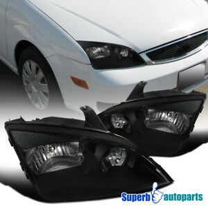For 2005 2007 Ford Focus Zx3 Zx4 Zx5 Headlights Black Lamps Left right