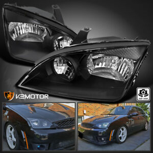 Fits 2005 2007 Ford Focus Black Headlights Lamps Replacement Left Right 05 07