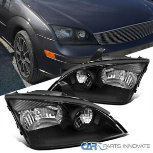05 07 Ford Focus Zx4 St Replacement Black Clear Headlights Head Lamps Left Right