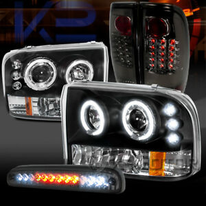 99 04 F250 Black Halo Projector Headlights smoke Led Tail Lamps led 3rd Brake
