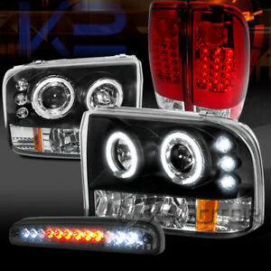 99 04 F250 Black Halo Projector Headlights red Led Tail Lamp tint Led 3rd Brake
