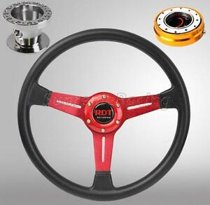 Red Steering Wheel Quick Release Gold Combo For Toyota Celica Corolla Cressida