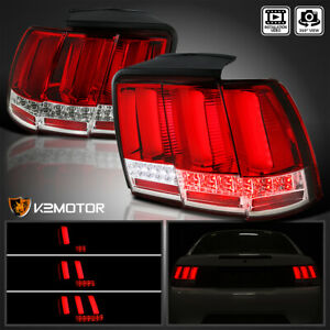 Red Fit 1999 2004 Ford Mustang Led Tail Lights Sequential Led Signal Brake Lamps