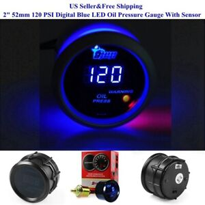 2 52mm 120 Psi Digital Blue Led Oil Pressure Gauge With Sensor Auto Car Motor