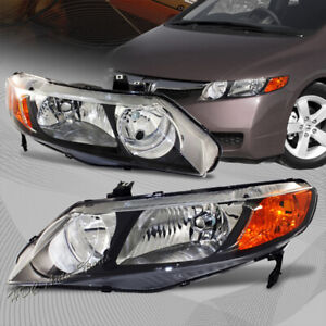 For 2006 2011 Honda Civic Black Housing Headlights Clear Lens W amber Reflector