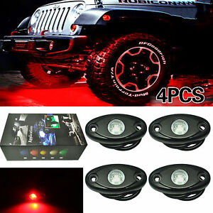 4 X Red Cree Led Rock Light Jeep Offroad Truck Boat Under Body Trail Rig Light