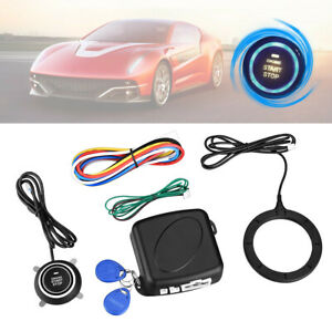 Car Ignition Switch Rfid Engine Start Push Button Keyless Entry Starter Kits 12v