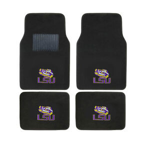 New 4pcs Ncaa Lsu Tigers Car Truck Front Rear Carpet Floor Mats Set