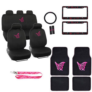 New Full Set Hot Pink Butterfly Car Front Rear Seat Covers Carpet Floor Mats