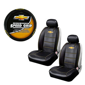 New Chevy Bowtie Car Truck 2 Front Sideless Seat Covers Steering Wheel Cover Set