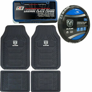 New Dodge Ram Factory Style Car Truck Floor Mats Steering Wheel Cover 5pcs Set