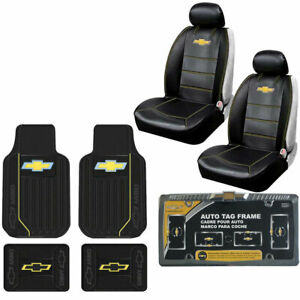 New 9pc Chevy Elite Style Car Truck Front Rear Rubber Floor Mats Seat Covers Set