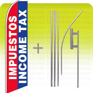 Impuestos Income Tax Swooper Feather Flutter Sign Banner Tall Flag 15 Kit Bb