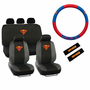 New Marvel Superman Shield Car Front Back Seat Covers Steering Wheel Cover Set