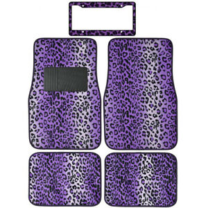 Safari Print Purple Leopard Carpet Floor Mats For Car Truck License Plate Frame
