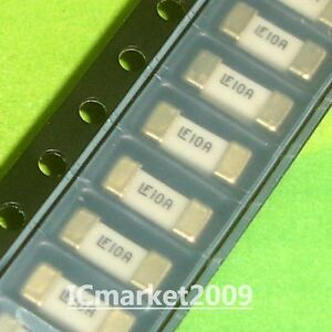 10 Pcs 10a 1808 Littelfuse Fast Acting Smd Fuse 10 Ampere Surface Mount Fuses