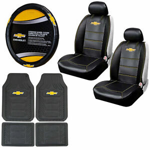 9pc Chevy Car Truck Suv All Weather Floor Mats Seat Covers Steering Wheel Cover