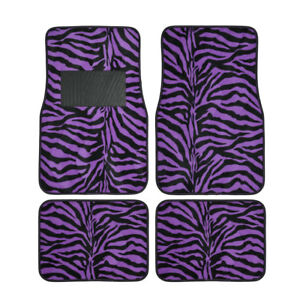 New Safari Print Zebra Tiger Purple Car Truck Front Back Carpet Floor Mats