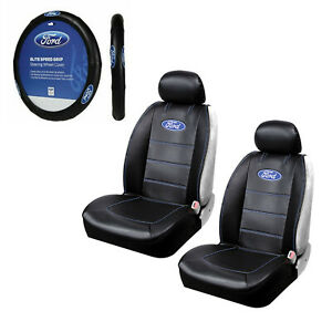 Brand New Ford Logo Sideless Front Seat Covers Steering Wheel Cover Set