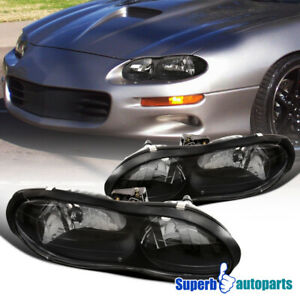 For 1998 2002 Chevrolet Camaro Base Z28 Z28 Ss Black Headlights