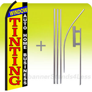 Window Tinting Auto Home Business Swooper Flag Kit Feather Flutter Sign 15 Yz