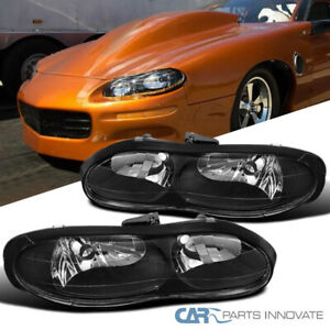 98 02 Chevy Camaro Z28 Replacement Black Clear Headlights Driving Head Lamps