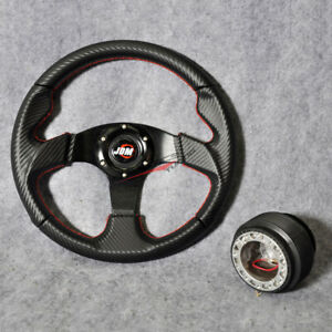 Fits 32cm Steering Wheel Pvc Leather Jdm Carbon Red Stitch 6 Bolt Hub Adapter Vw