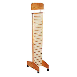 Conde Rack Store Display Slatwall Tower With Casters Maple