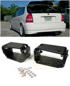 Type R Spoiler Ctr Wing Riser Black Alex Tilt Brackets For 96 00 Civic Ek9 3dr