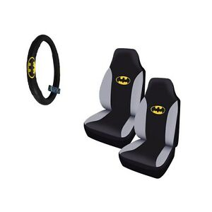 Brand New Classic Batman Logo Car Truck Front Seat Covers Steering Wheel Cover