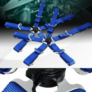 2 X Durable Nylon 5 Point Cam Lock Safety Harness 2 Blue Seat Belt Universal 4
