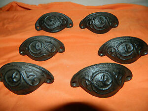Set 6 Rustic Antique Style Cast Iron Curved Embossed Pattern Drawer Pull Handle