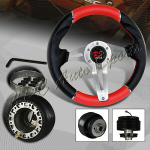 320mm Black Red Pvc Leather 6 hole Racing Steering Wheel For Subaru Adapter