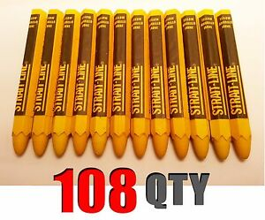 Lot Of 108 Strait Line Yellow Lumber Crayon Markers 4 5in X 0 5in New